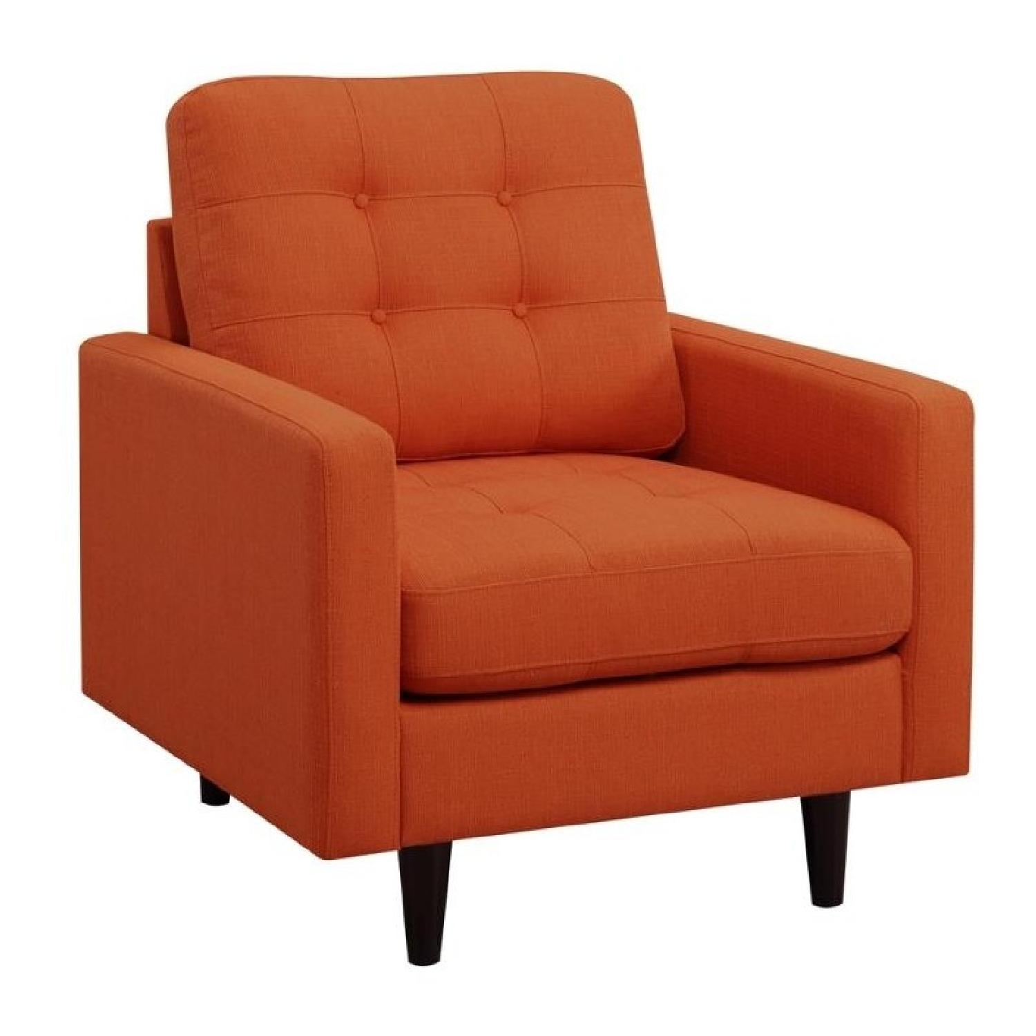 Mid-Century Modern Style Chair w/ Reversible Seat & Back Cushion in Orange Fabric