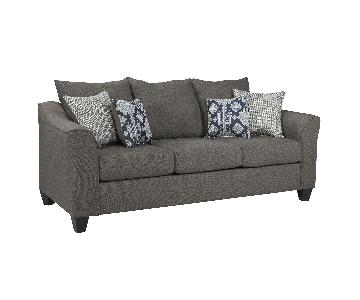 Flared Arms Sofa w/ Detachable Cushions in Neutral Grey & 4 Accent Pillows