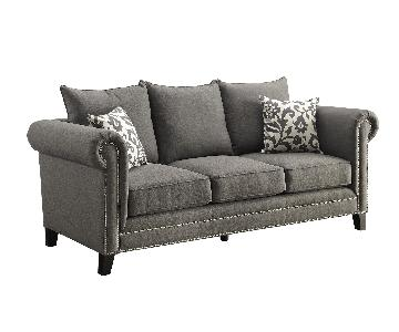 Sofa w/ Rolled Arms & Pewter Nailhead Accent in Charcoal Grey Fabric & 2 Accent Pillows