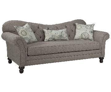 Sofa w/ Tufted Reverse Camel Back Design & Foam Cushions in Stone Grey Finish