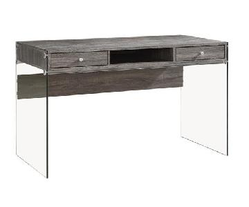 Contemporary Writing Desk in Weathered Grey Finish w/ Thick Tempered Glass Side Panels