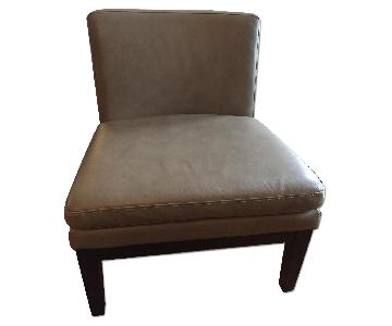 West Elm Grey Leather Slipper Chair