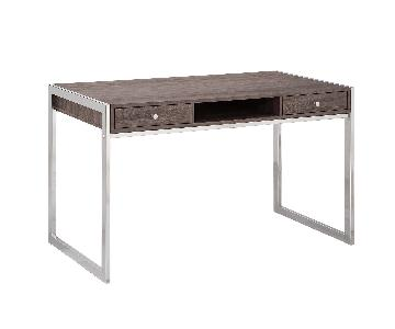 Contemporary Style Writing Desk in Weathered Grey Finish w/ Electroplated Chrome Frame