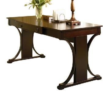 Transitional Style Desk in Red Brown Finish w/ Storage Drawer