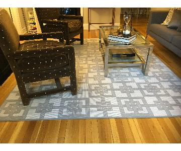 Gray & White Geometric Rug