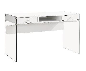 Contemporary Writing Desk in White Finish w/ Thick Tempered Glass Side Panels