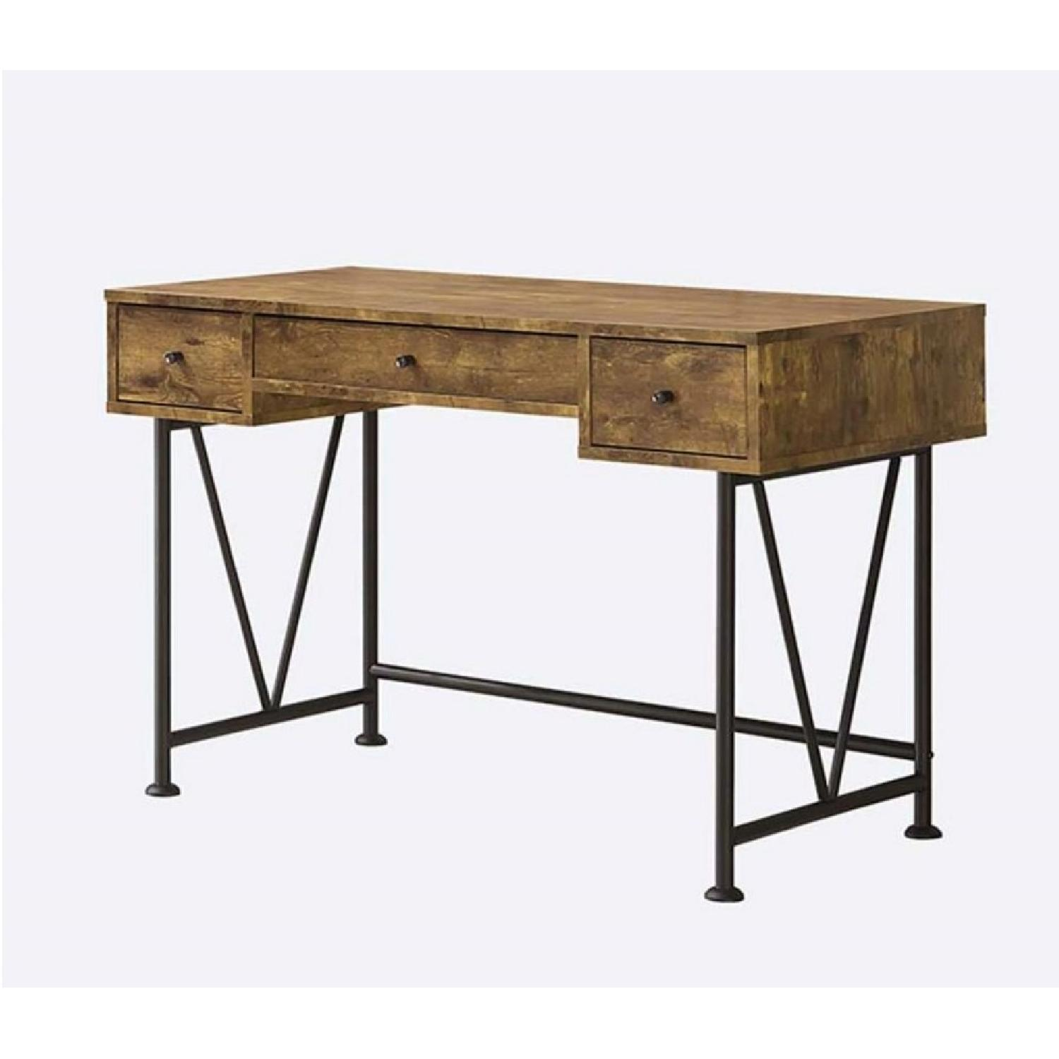 Industrial Style Wood & Metal Finish Desk in Antique Nutmeg & Black