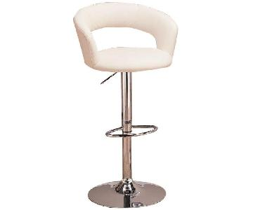 White Swivel Barstool w/ Cushioned Seat/Back & Armrests Upho