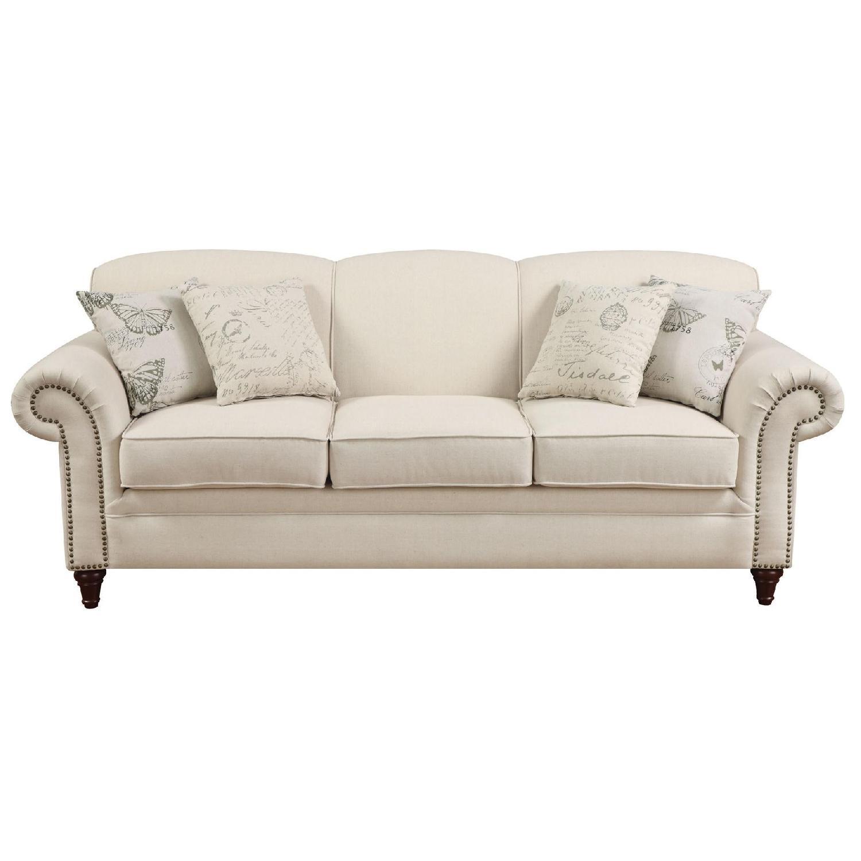 Classic Scalloped Back Sofa W/ Pocket Coil Reversible Cushions U0026 Nailhead  Accent In Oakmeal Blend ...