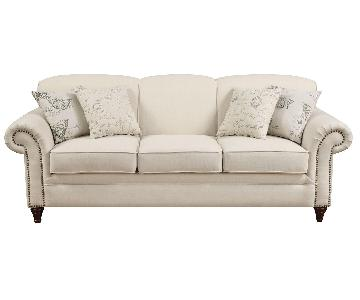 Classic Scalloped Back Sofa w/ Pocket Coil Reversible Cushions & Nailhead Accent in Oakmeal Blend Fabric