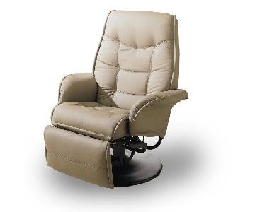 Swivel Recliner w/ Padded Cushions in Bone Color Leatherette