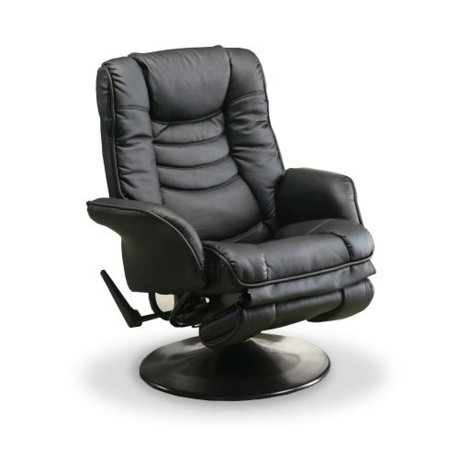 Swivel Recliner w/ Padded Cushions in Black Color Leatherette