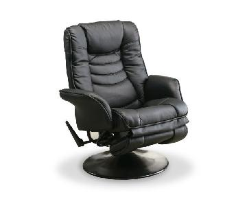 Swivel Recliner w/ Padded Cushions in Black Color Leatherett
