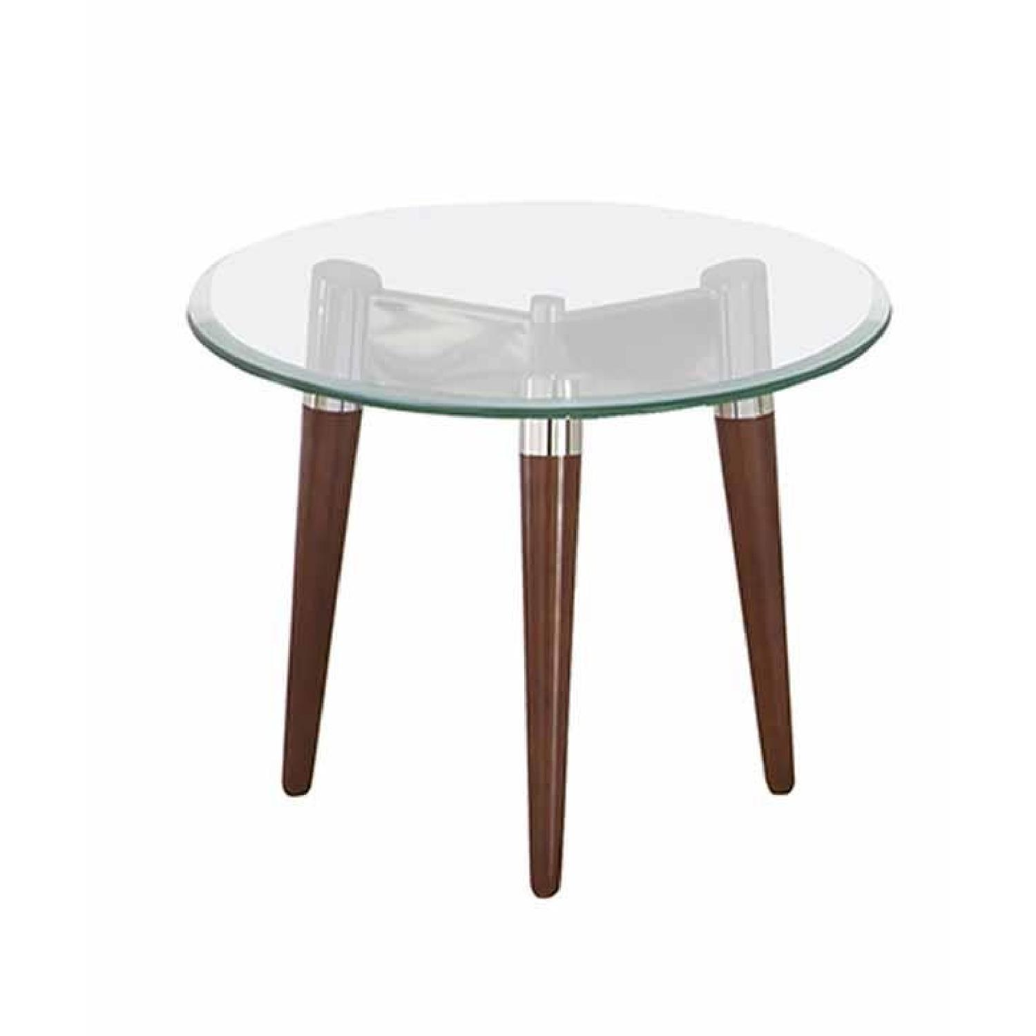 Retro modern style end table w round beveled tempered for Retro end tables