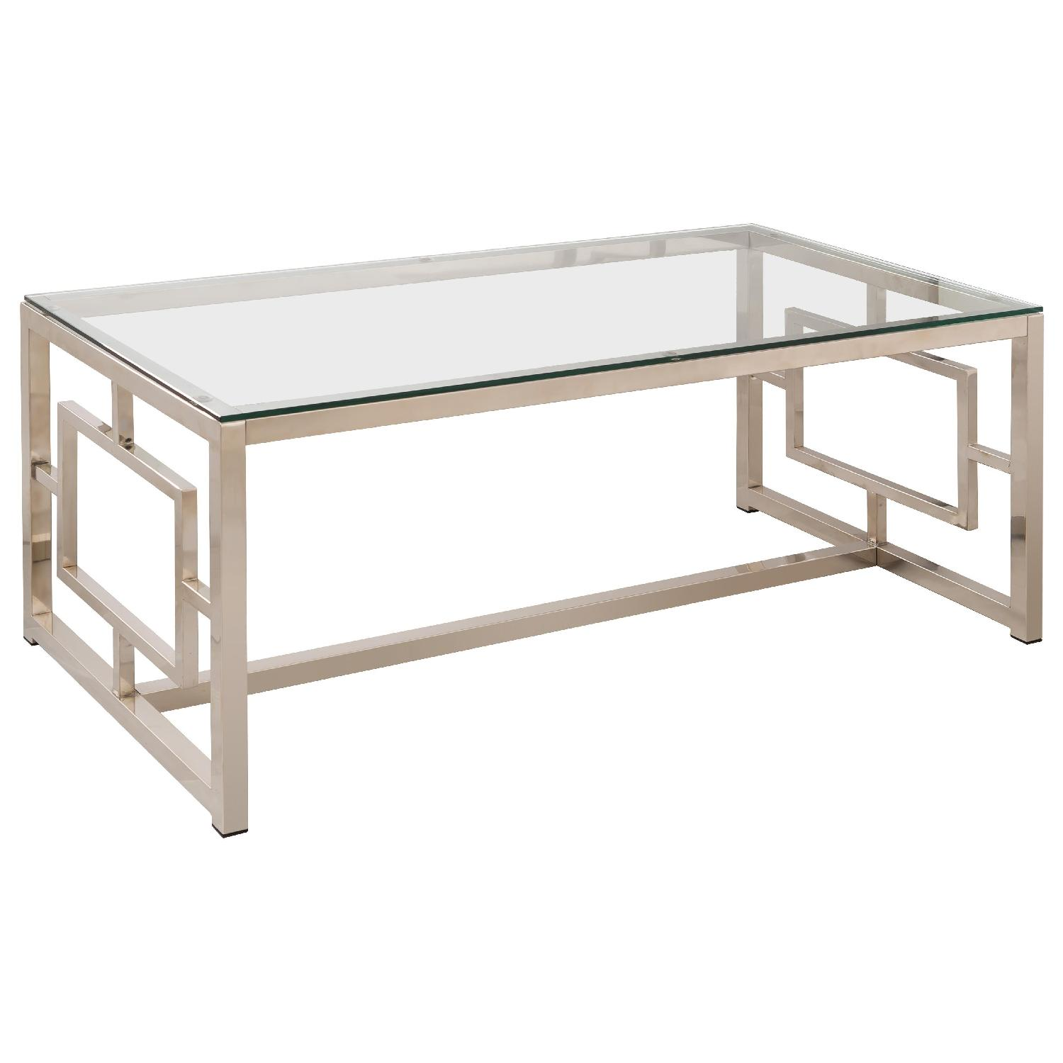 Contemporary Glass Table Top Metal Coffee Table w/ Geometric Motif Nickel Finished Base
