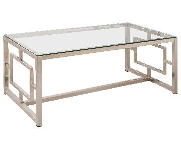 Contemporary Glass Table Top Metal Coffee Table w/ Geometric