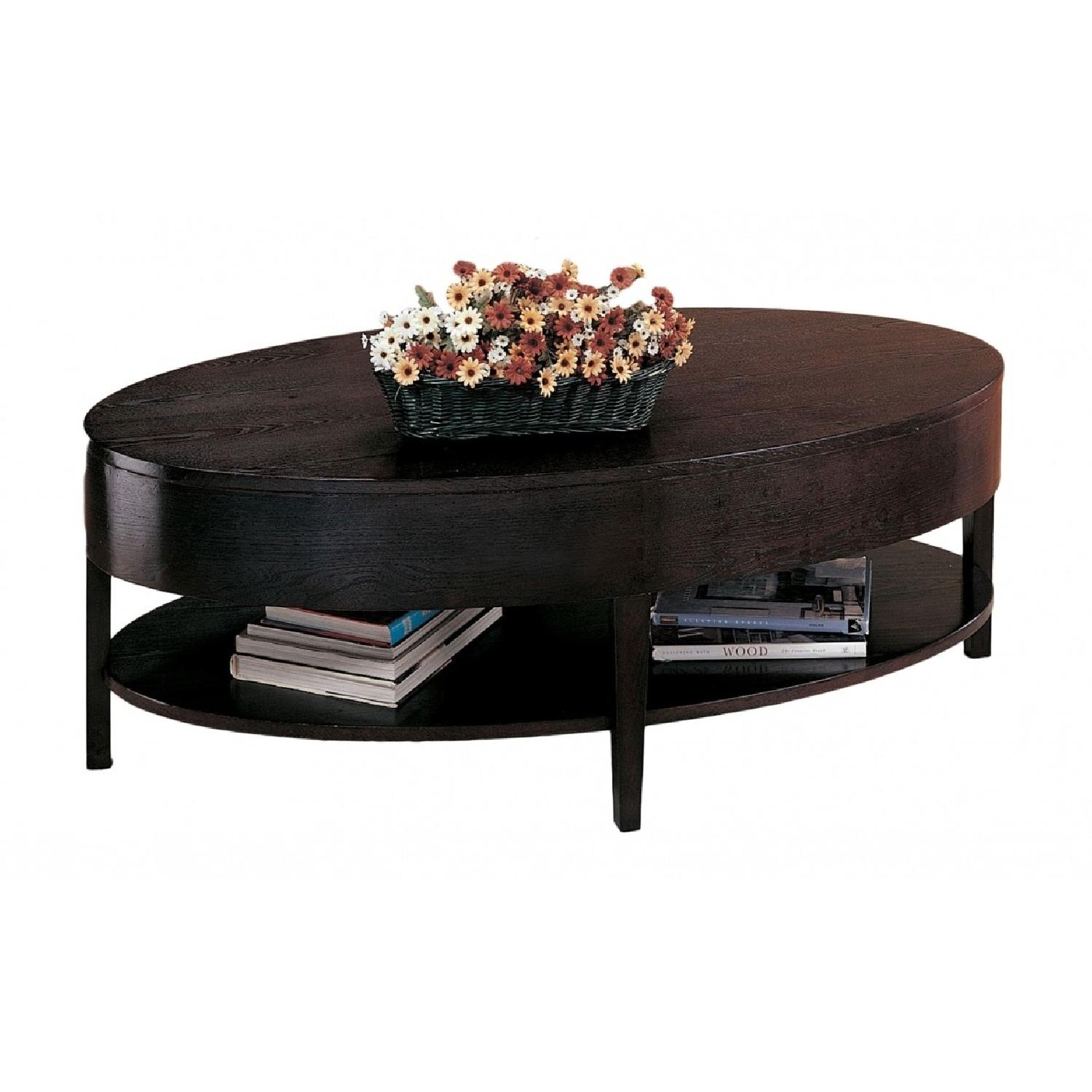 Oval 2-Deck Coffee Table in Espresso Finish