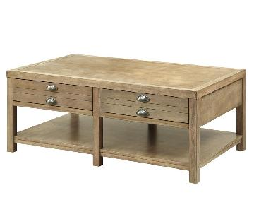 Craftsman Style Coffee Table in Driftwood Finish