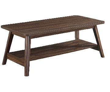 Mid-Century Modern Style Coffee Table w/ Storage Shelf in Ch