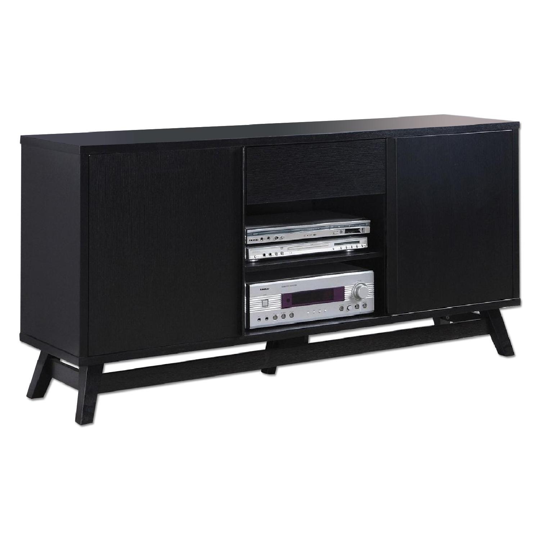 Mid Century Style Tv Stand In Black Finish Aptdeco
