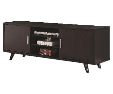 Mid-Century Modern Style TV Stand w/ Storage Cabinets & Shelves in Cappuccino Finish