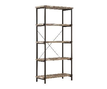 Rustic Bookcase in Salvaged Cabin Style Wood Veneer Shelves & Black Metal Frame