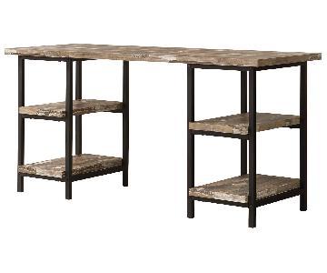 Rustic Metal Frame Writing Desk w/ Distressed Finish Top & Storage Shelves