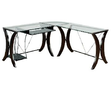 Contemporary L-Shaped Desk w/ Tempered Glass Top& Mix Media Wood/Metal Frame
