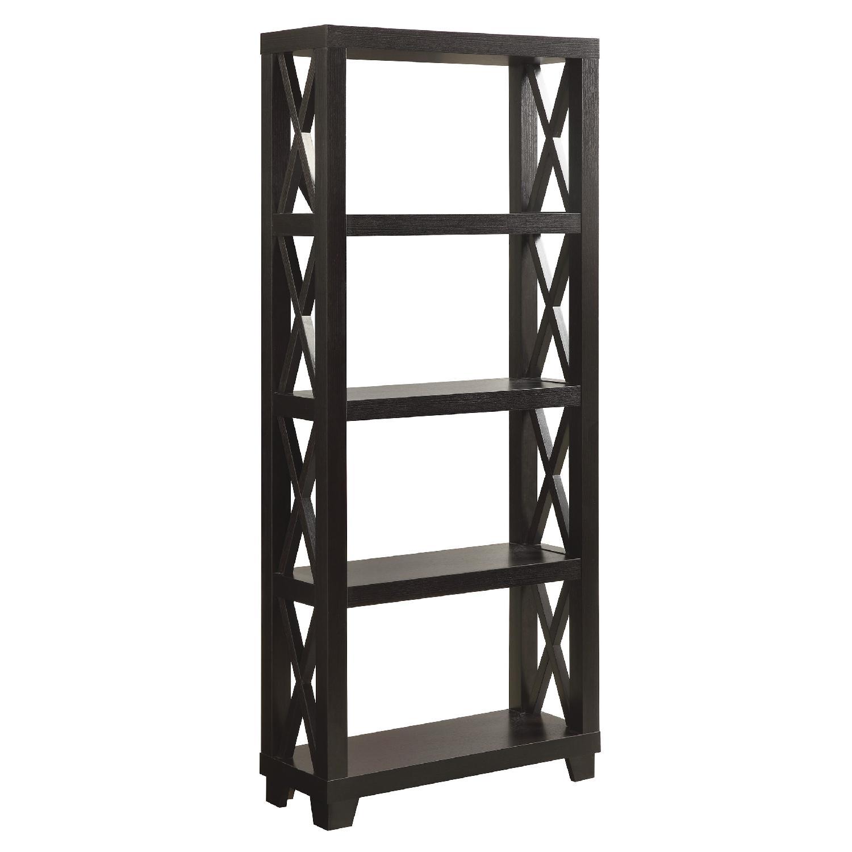 Bookcase w/ Four Shelves in Cappuccino Finish