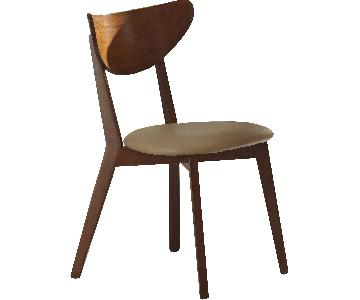 Mid-Century Retro Style Dining Chair w/ Curved Back in Walnut Finished Frame & Beige Cushioned Seat
