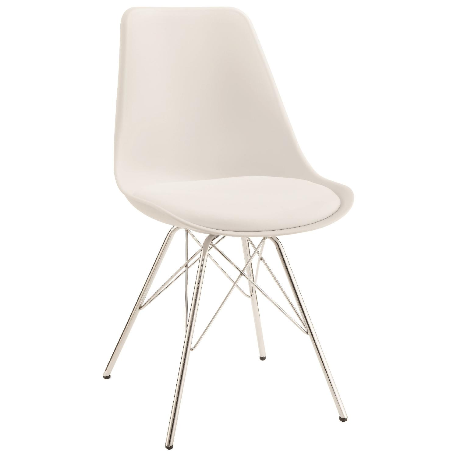 Mid Century Style Dining Chair w/ White ABS Shell Padded Seat & Metal Legs