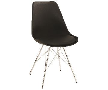 Mid Century Style Dining Chair w/ Black ABS Shell Padded Sea