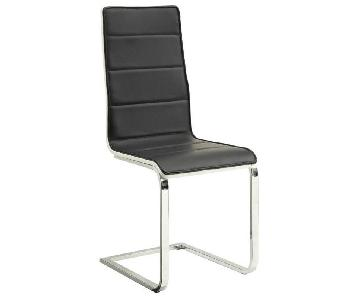 Modern Dining Chair in Black-White Leatherette Upholstery &