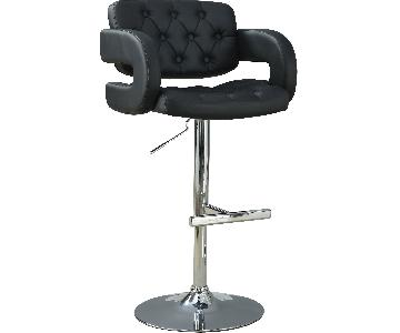 Padded Barstool w/ Tufted Seat/Back & Armrests in Black Leat