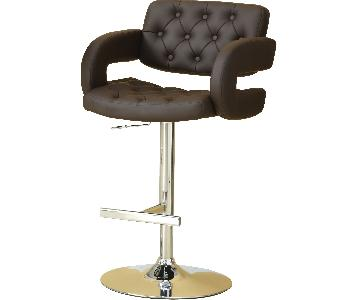 Padded Barstool w/ Tufted Seat/Back & Armrests in Brown Leat