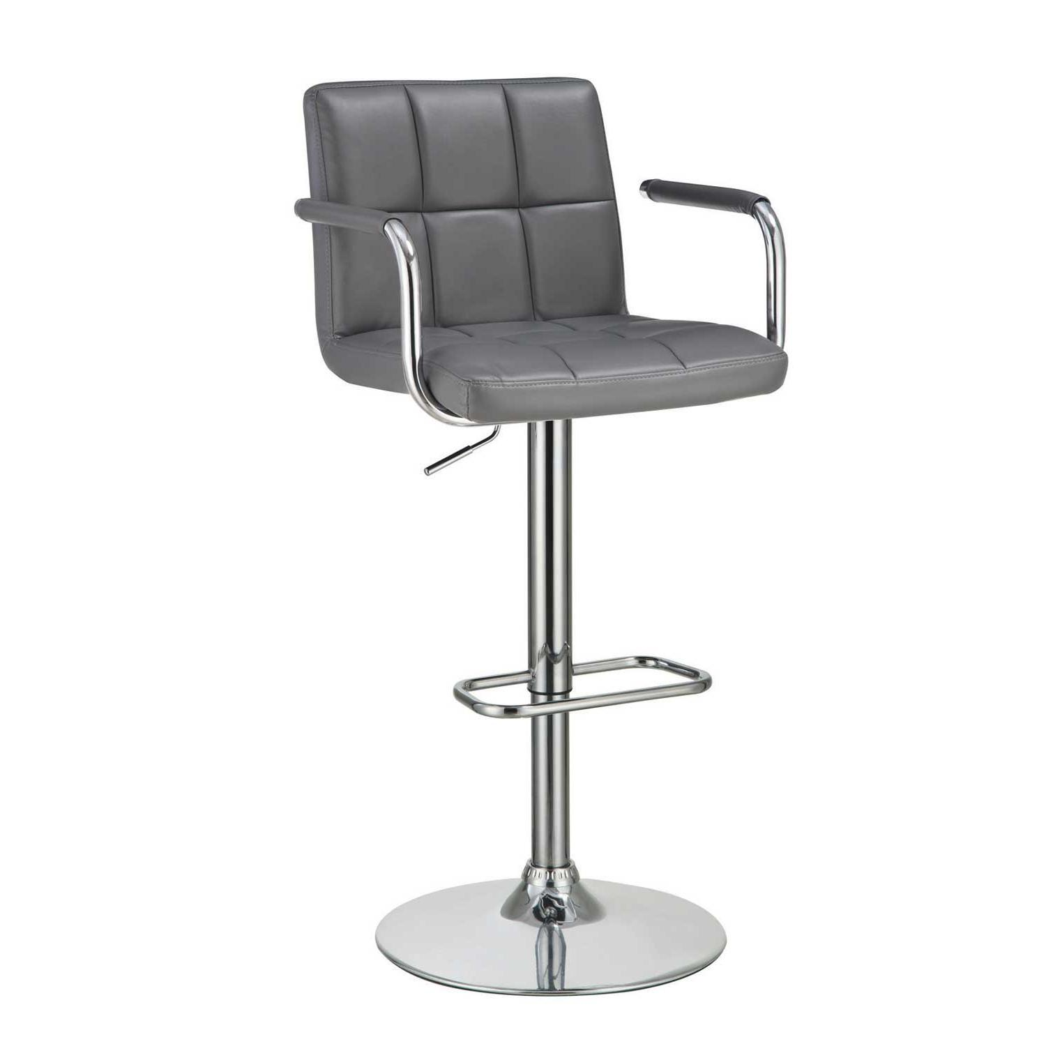 Modern Barstool w/ Armrests & Padded Back/Seat in Grey Leath