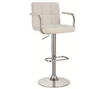 Modern Barstool w/ Armrests & Padded Back/Seat in White Leat