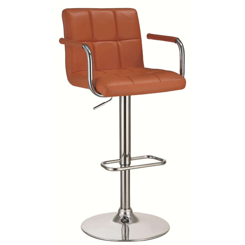 Modern Barstool w/ Armrests & Padded Back/Seat in Orange Lea