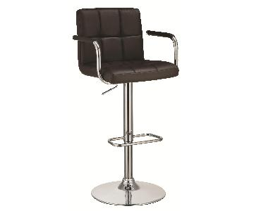 Modern Barstool w/ Armrests & Padded Back/Seat in Brown Leat