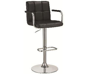 Modern Barstool w/ Armrests & Padded Back/Seat in Black Leat