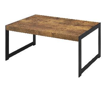 Rustic Style Coffee Table In Nutmeg & Gunmetal Frame