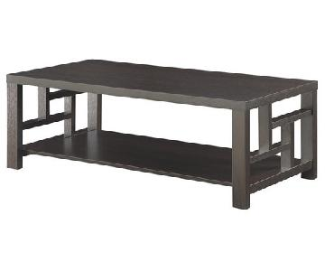 Coffee Table w/ Storage Shelf & Asian Inspired Window Pane Design in Espresso Finish