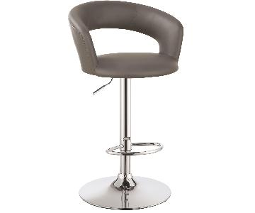 Modern Adjustable Barstool w/ Padded Cushions & Curved Back Support in Grey Leatherette