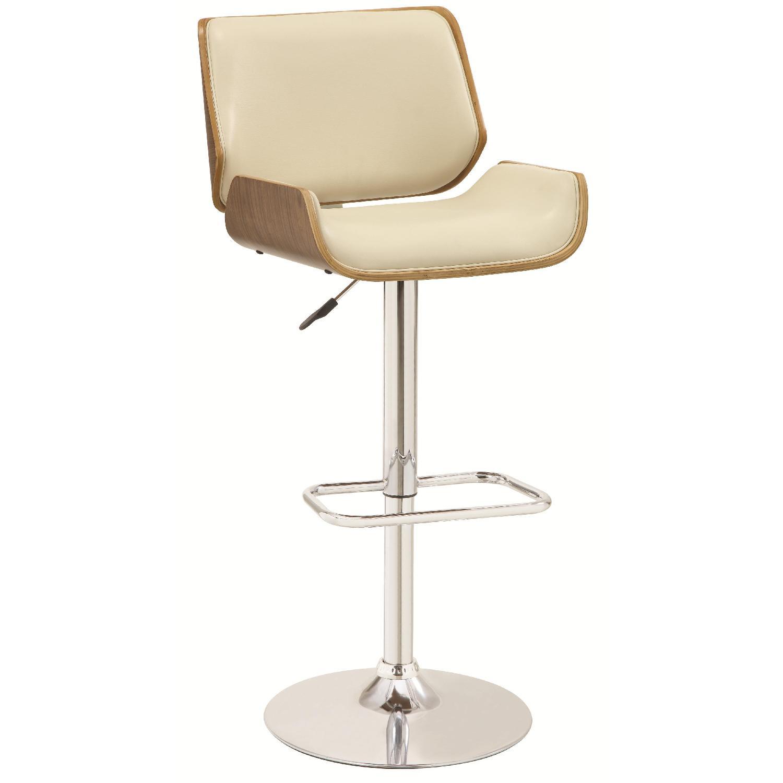 Mid-Century Style Adjustable Bent Wood Barstool w/ Walnut Finished Backing & Padded Seat/Back Upholstered in Cream Faux Leather