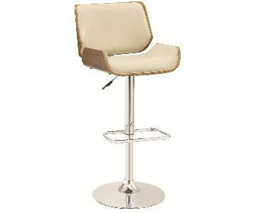 Mid-Century Style Adjustable Bent Wood Barstool w/ Walnut Finished Backing & Padded Seat/Back Upholstered in Cream Faux Leather