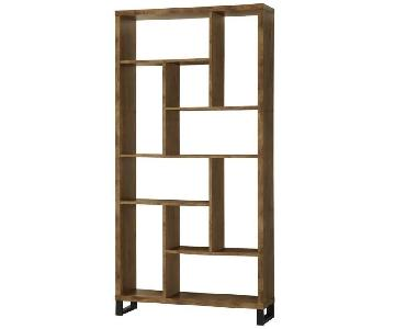 Bookcase w/ Different Sized Cubbies in Antique Nutmeg Finish