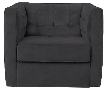 West Elm Rochester Swivel Stormy Grey Tufted Armchair