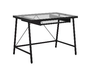 CB2 Glass & Brushed Metal Desk