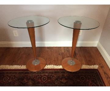 Italian Glass Top End Tables