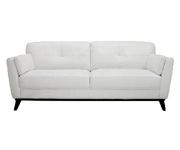 Raymour & Flanigan White Leather Sofa